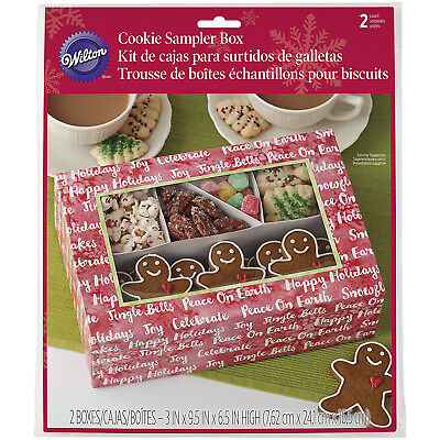 Wilton 2pc Christmas Cookie Sampler Card Boxes with Compartment and Clear Window