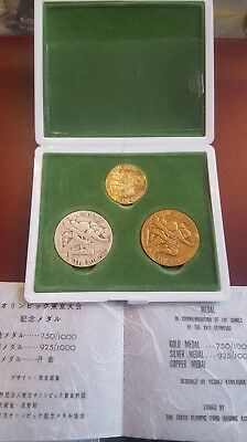 Japan 1964 Olympiade in Tokio Gold, Silber, Kupfer Medaille Set - Sehr Selten