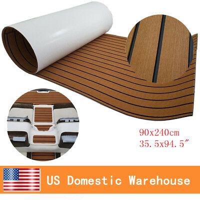 "Synthetic Teak Boat Decking Sheet EVA Foam Water Proof 94.5""x35.4"" Light Brown"
