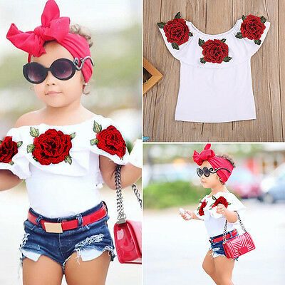 Newborn Baby Girl Casual Summer Clothes Off Shoulder Floral Pattern Tops T-shirt