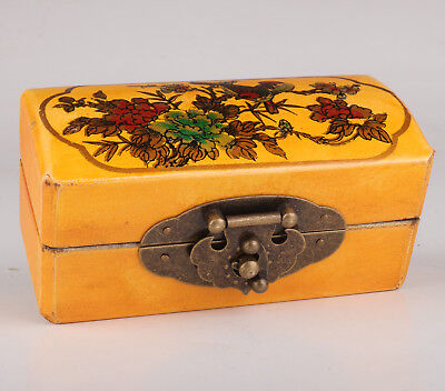 Yellow Leather Jewelry Box Flower Bird Gift Collection Value