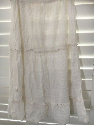 GORGEOUS ORIGINAL VINTAGE 70's CHEESECLOTH EMBROIDERED CROCHET SKIRT 6-8 BOHO