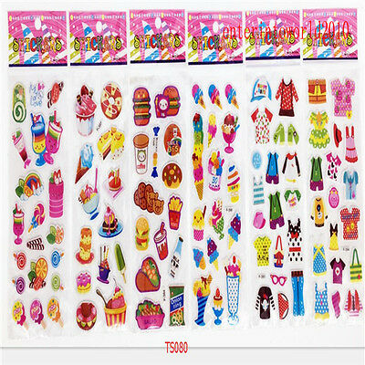 6Pcs PVC Puffy Food clothes kids stickers Teacher Reward Stickers lot party gift