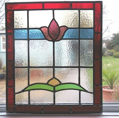 AN ORIGINAL RECLAIMED FULLY RESTORED STAINED GLASS PANEL - Ref SG262