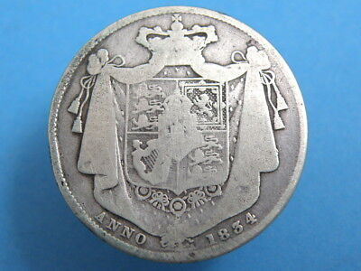 1834 KING WILLIAM IV - SILVER HALFCROWN COIN - Bare Head / Shield on Mantle