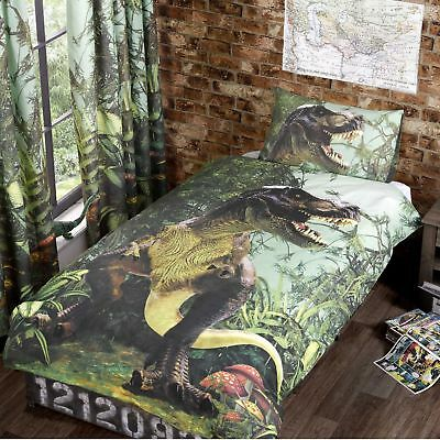 T Rex Kids Quilt Cover Jurassic Park 3D Dinosaur Boys / Girls Bedding FREE P&P !