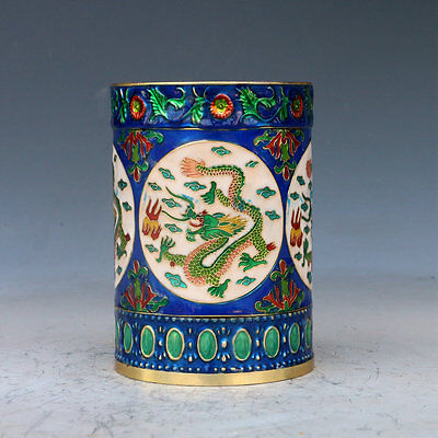 Chinese Cloisonne Hand-carved Dragon brush pot w QianLong Mark
