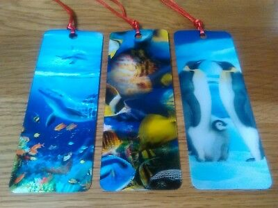Set Of 3  3D Bookmarks. -  Dolphins / Tropical Fish / Penguins