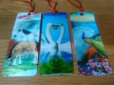 Set Of 3  3D Bookmarks. -  Horses / Swans / Peacock