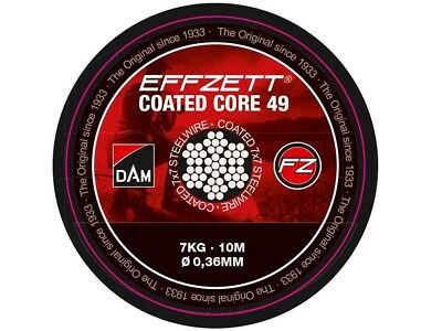 NEW 2018! D.A.M Effzett Coated Core 49 / 10m / 7-24kg / 7x7 steel leader wire