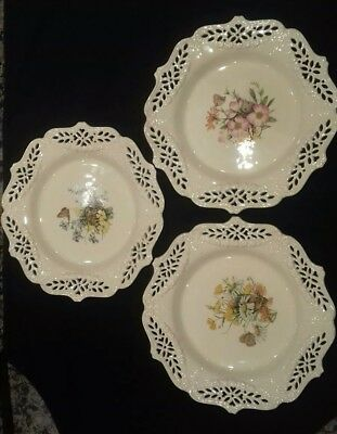 3 x Creamware Plates featuring Wild Flowers and Field Mouse (unusual)