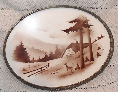 Vintage Footed Porcelain Oval Serving Tray Reticulated Metal Edge Deer Mountain