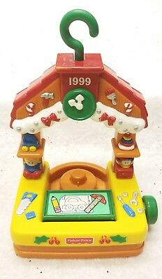 Fisher Price Little People Christmas Ornament 1999 Santa Workshop Flips!
