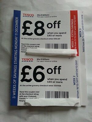 Tesco Vouchers worth £20. Each voucher is valid when you spend £40 or more