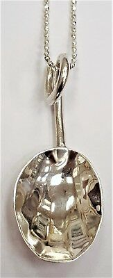 Solid sterling 925 silver hallmarked vintage 1928 shell spoon pendant necklace