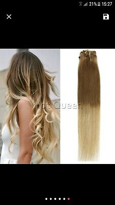 6A Grade Blonde Brazilian Straight Ombre Clip In Human Hair Extensions Light...