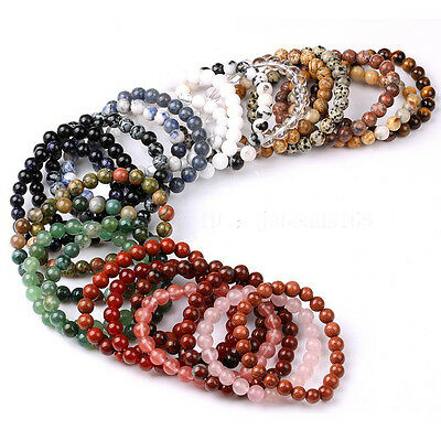 Handmade 6mm Natural Gemstone Round Beads Stretchy Bracelet Healing jewelry