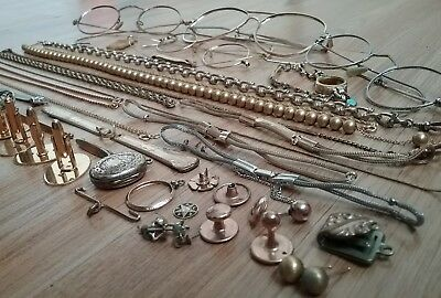 Gold Filled Eyeglass Frames, Jewelry, Watch Chains, Vintage Scrap ~ Lot