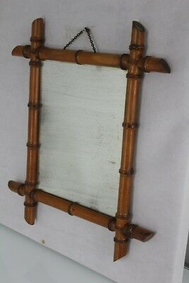 1900s worn  bamboo mirror