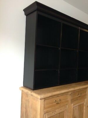 1920's Pine Dresser, With Free-Standing Ebonised Shelved Unit