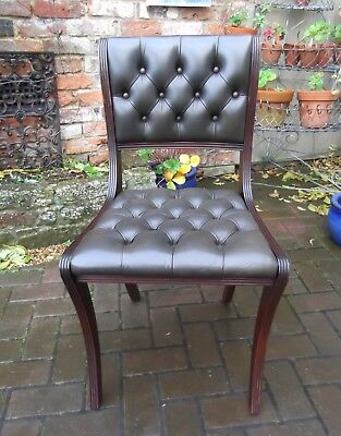 Regency Style Buttoned Chesterfield Green Leather Desk Chair~Library~1 Of 2