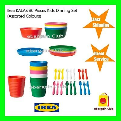 New IKEA KALAS 36 Pieces Kids Dinning Set Plastic Party Bow Mug Plate Cutlery