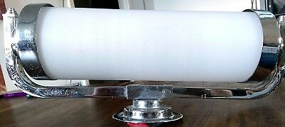 Art deco Chrome wall light fitting with bakelite bulb holder and tubular glass