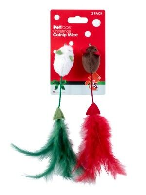 Cat Toy - Kitten, Two Mice, Play, Feather, Christmas, Mouse, Catnip, By Pet Face