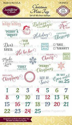 JUSTRITE CLEAR Rubber Stamps CHRISTMAS MINI TAGS CR-05012 Nice Naughty Santa