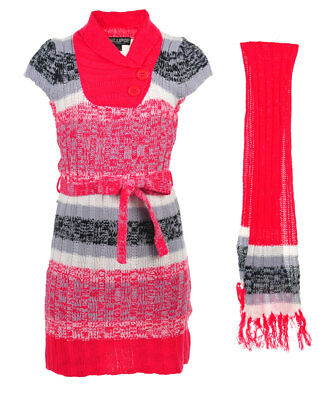 Chillipop Girls' Sweater Dress with Scarf