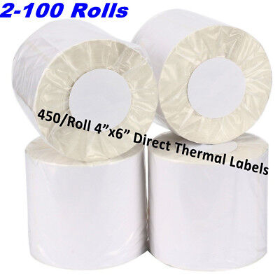 2-100 Rolls 4x6 Direct Thermal Shipping Label Zebra ZP450 Eltron 2844 450/Roll