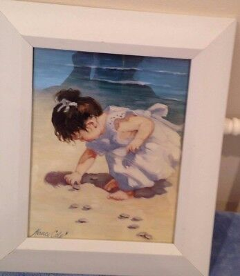 Picture Of Girl Finding Shells 11X13-1/2 By Nancy Cole ~ Free Shipping!