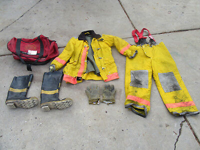 Full (Ppe) Firefighter Turnout Bunker Gear: Jacket Pants Boots Gloves  #3