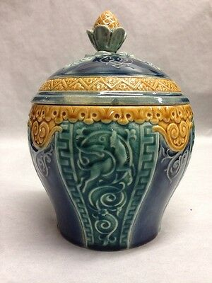 Rare Antique Choisy Le Roi Art Nouveau Leaping Dog Jar/Pot/Canister