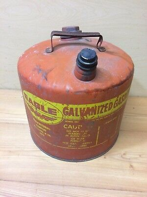 Vintage Eagle Galvanized 5 Gallon Gas Can Red Model 505 26 Gauge Steel Upcycle