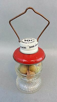 Vintage Barn Lantern Candy Container Red Green Tin Top Wire Bail Handle Stough
