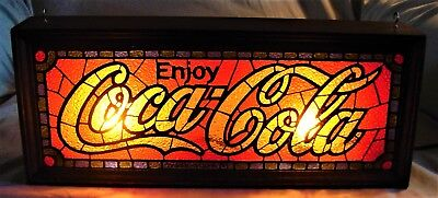 Vintage 1970's Lighted Wood Box Frame Stained Glass Sign - Enjoy Coca-Cola.
