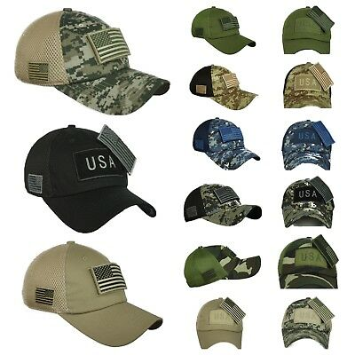 USA American US Flag Baseball Cap Patch Trucker Tactical hunting Army CAMO Hatjj