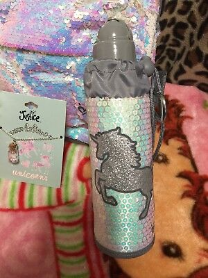 BONUS magic potion necklace incl!!  Justice Shimmer Unicorn Sleeved Water Bottle