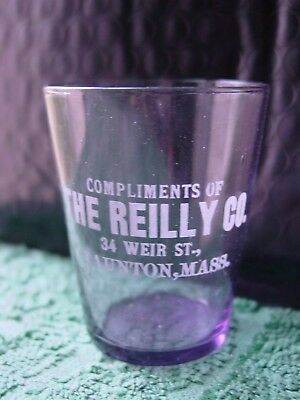Antique Etched Amethyst Pre-Pro Shot Glass Reilly Co. 34 Weir St. Taunton, Mass.