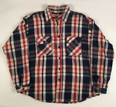vintage 70s BIG MAC JC PENNEY PLAID HEAVY FLANNEL COTTON SHIRT L/XL