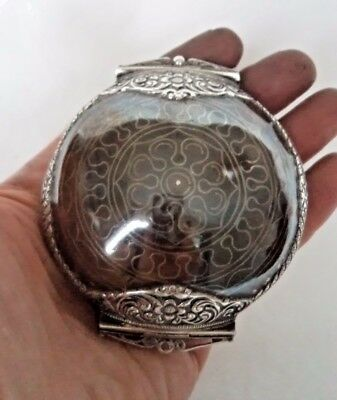 ANTIQUE c1900 EASTERN TIBET? SOLID SILVER & COPPER HINGED PURSE / BOX