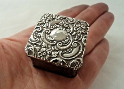 Antique 1904 Solid / Sterling Silver Mounted Stamp Box