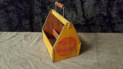 1940's Coca Cola Wooden 6 Pack Bottle Carrier WW2 Wings