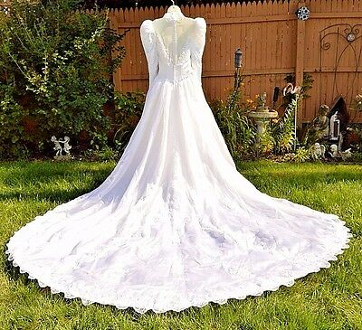 Design. 80'S designer Demetrious Beaded Wedding Dress Gown Sz 6, Cathedral Train