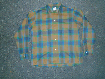 Vtg 60's TOWNCRAFT Thin Shadow GREASER Rockabilly LOOP Collar Shirt Sz L