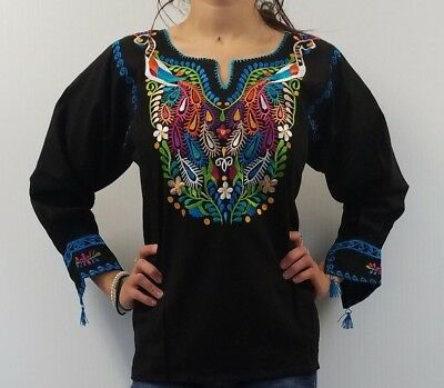Oaxacan Peasant BLOUSE EMBROIDERED MEXICAN long sleeve HUIPIL