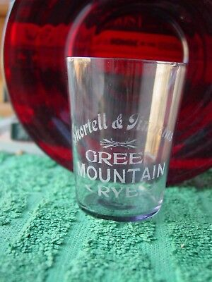 Antique Etched Pre-Pro Shot Glass Shortell & Timmins Green Mountain Rye Whiskey