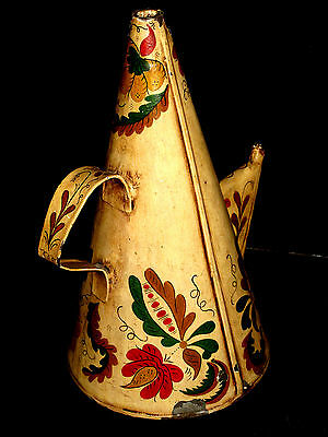 """13"""" Antique TOLEWARE SPERM WHALE OIL Oiler CAN Galvinazed PAINTED TIN LAMP 19thC"""