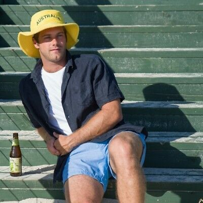 Mens Ladies Terry Towelling Bucket Hat Cricket Green Gold Australia Day